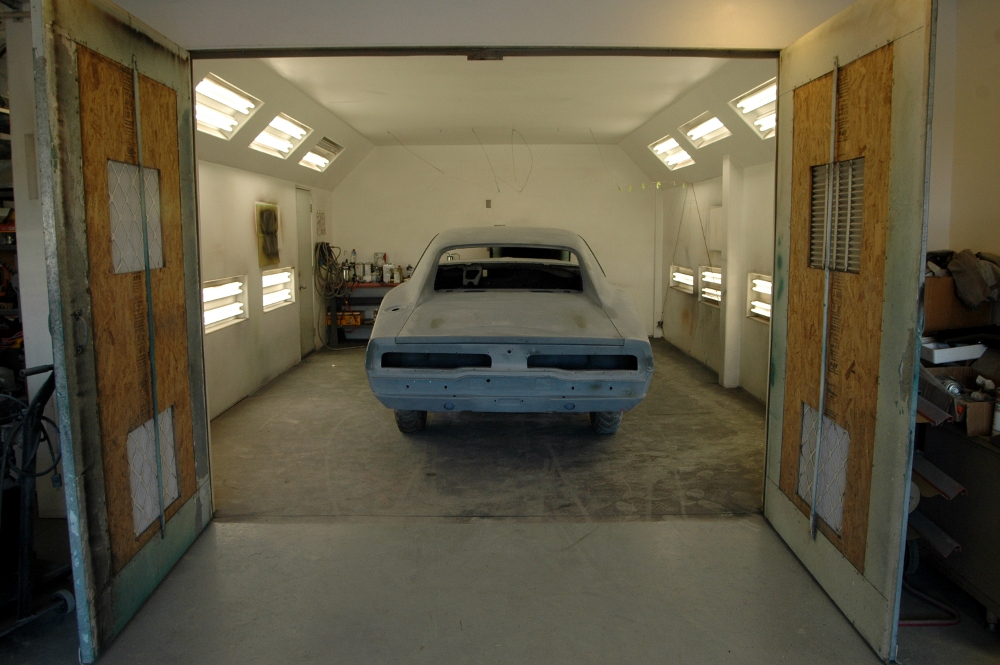 Here is the car snug in the paint booth! - Tolley's 1970 Charger